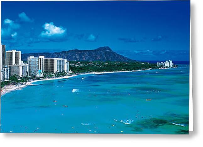 Panoramic Ocean Greeting Cards - Waikiki Beach Honolulu Oahu Hi Usa Greeting Card by Panoramic Images