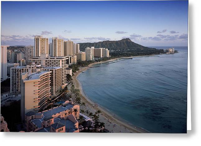 Swimmers Greeting Cards - Waikiki Beach Greeting Card by Mountain Dreams