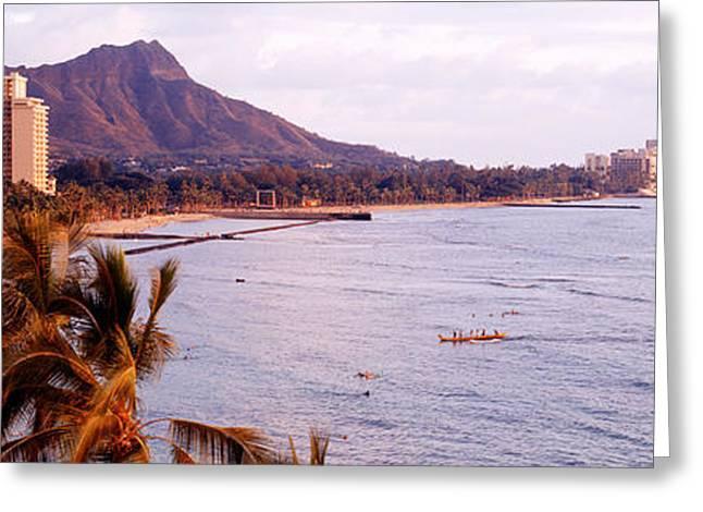 Waikiki Greeting Cards - Waikiki Beach, Oahu, Hawaii, Usa Greeting Card by Panoramic Images