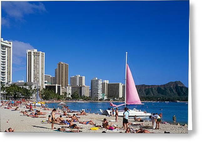 Blue Sailboat Greeting Cards - Waikiki Beach Oahu Island Hi Usa Greeting Card by Panoramic Images