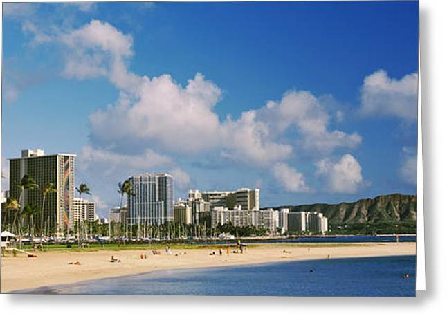 Ocean Photography Greeting Cards - Waikiki Beach With Mountain Greeting Card by Panoramic Images