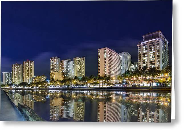 Kamehameha Greeting Cards - Waikiki cityscape at night  Greeting Card by Tin Lung Chao