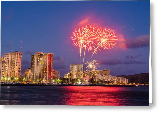 Top Seller Greeting Cards - Waikiki Diamond Head Firework Greeting Card by Tin Lung Chao