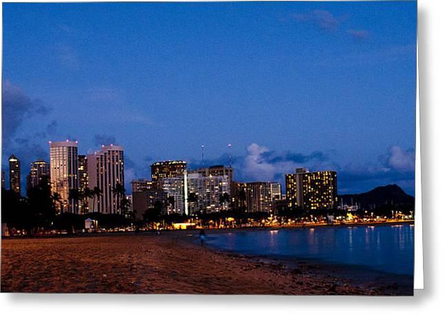 Hawaii Pyrography Greeting Cards - Waikiki Greeting Card by Pobby Heglar