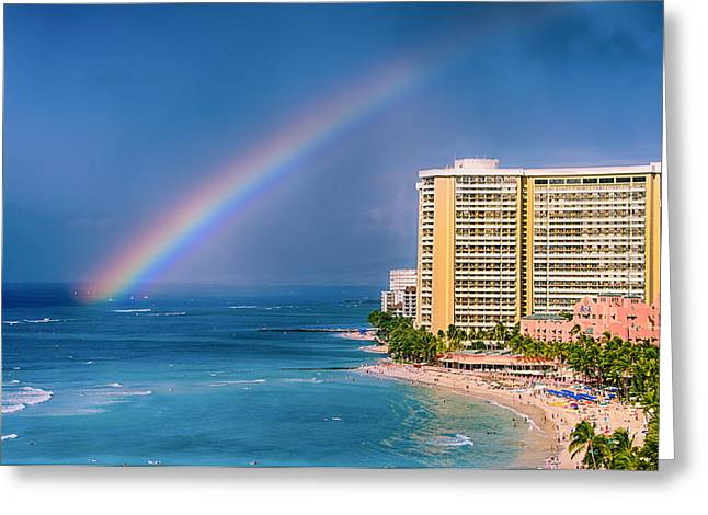 Top Surfer Greeting Cards - Waikiki Rainbow Greeting Card by Tin Lung Chao