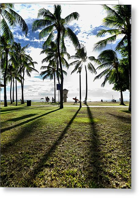 Honolulu Greeting Cards - Waikiki Shadows Greeting Card by Sean Davey