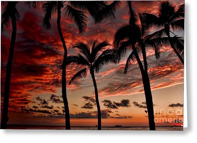 Waikiki Greeting Cards - Waikiki Sunset Greeting Card by David Smith