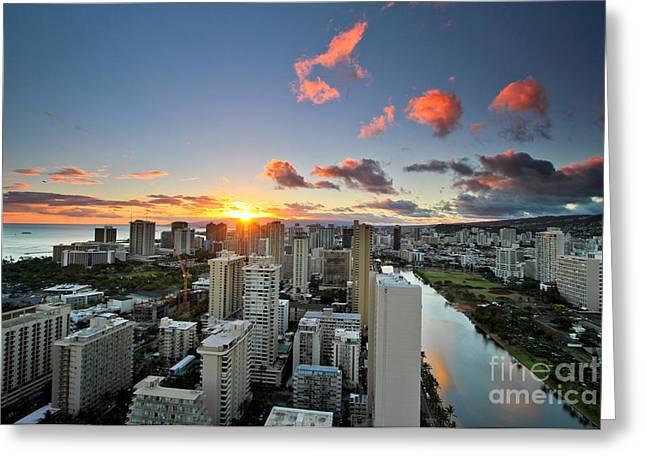 Marriot Greeting Cards - Waikiki Sunset Greeting Card by Laarni Montano