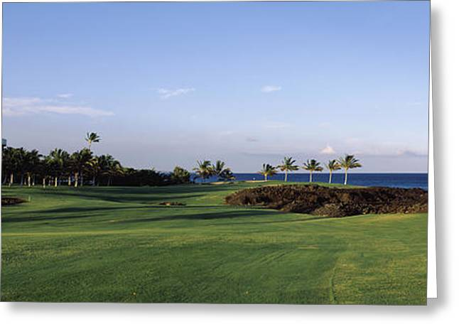 Scenic Golf Courses Photographs Greeting Cards - Waikoloa Golf Course At The Coast Greeting Card by Panoramic Images