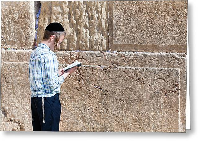 Boy Praying Greeting Cards - Wailing Wall Greeting Card by Alexey Stiop