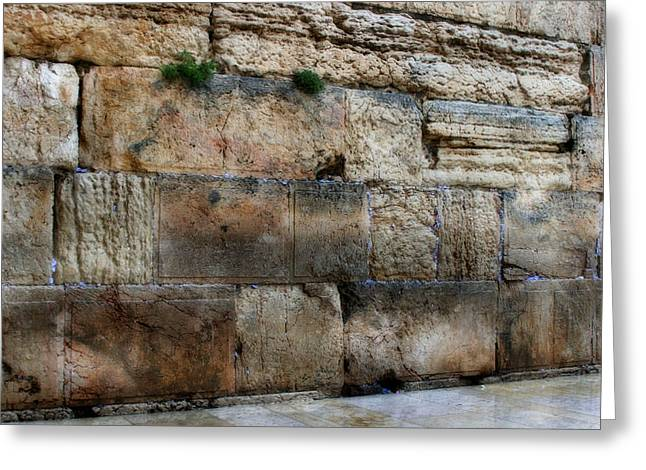 Old Western Photos Mixed Media Greeting Cards - Wailing Wall In Israel Greeting Card by Michael Braham