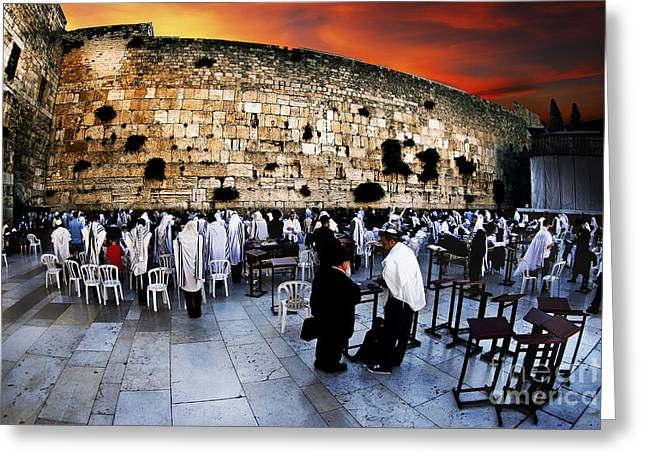 Mideast Greeting Cards - Wailing Wall Old City Jerusalem Greeting Card by Dan Yeger