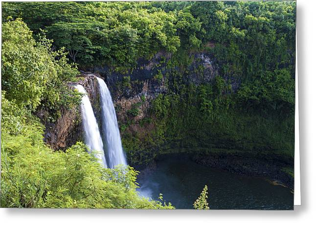 White River Scene Greeting Cards - Wailua Falls Greeting Card by Brian Harig