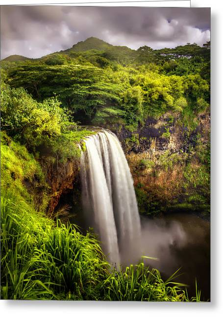 Babylon Greeting Cards - Wailua Falls in Kauai Greeting Card by Vicki Jauron