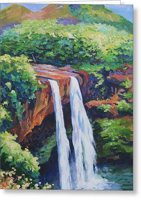 Sacred Paintings Greeting Cards - Wailua Falls Greeting Card by John Clark