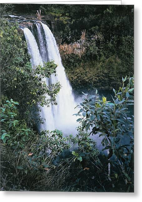 Tourist Trap Greeting Cards - Wailua Falls Kauai Hawaii Greeting Card by Barbara Snyder