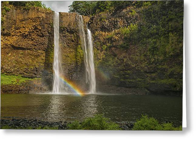 Double Image Greeting Cards - Wailua Falls Rainbow Greeting Card by Brian Harig