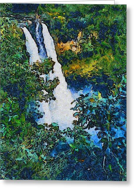 Tourist Trap Greeting Cards - Wailua Falls Through The Eyes Of Vincent Van Gogh Greeting Card by Barbara Snyder
