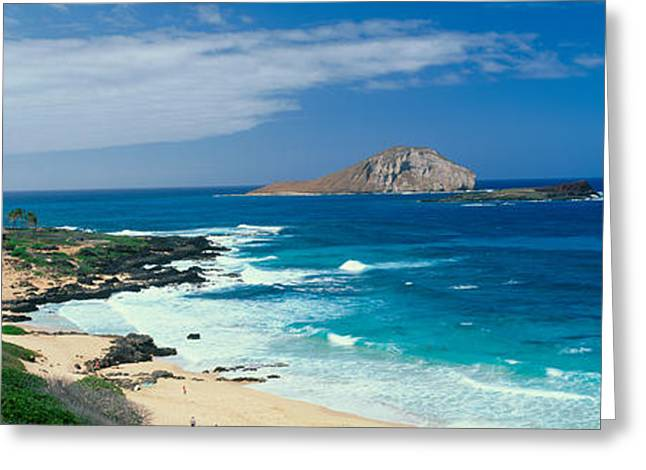 Blue Green Wave Greeting Cards - Waimanalo Bay, Oahu, Hawaii Greeting Card by Panoramic Images