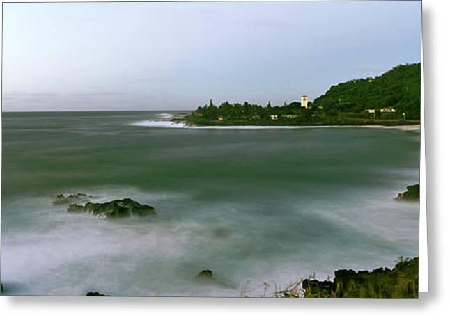 Waimea Greeting Cards - Waimea Bay At Sunset, Oahu, Hawaii, Usa Greeting Card by Panoramic Images
