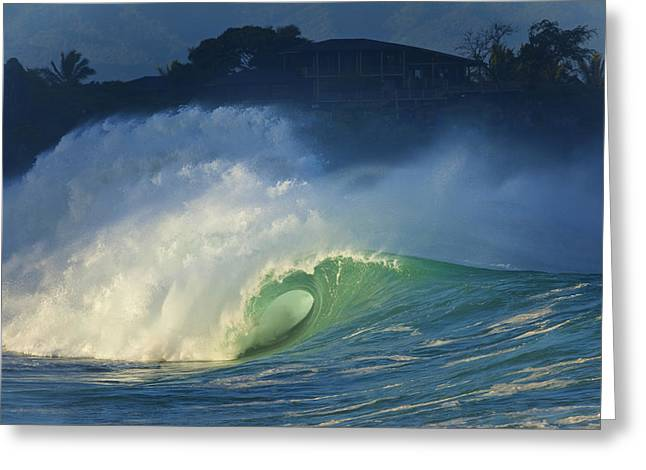 Surfing Contest Greeting Cards - Waimea Bay Greeting Card by Douglas Peebles