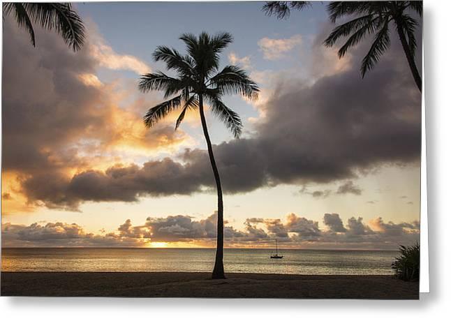 Peaceful Scenery Greeting Cards - Waimea Beach Sunset - Oahu Hawaii Greeting Card by Brian Harig