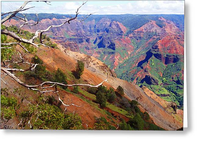 Waimea Valley Greeting Cards - Waimea Canyon 2 Greeting Card by Ellen Henneke