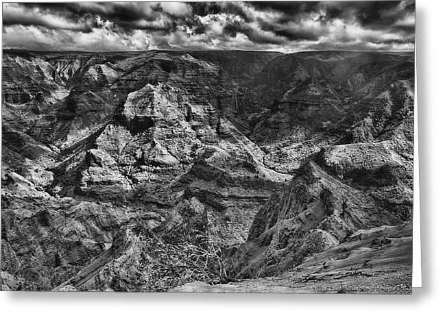 Waimea Valley Greeting Cards - Waimea Canyon Lookout Black and White Greeting Card by Douglas Barnard