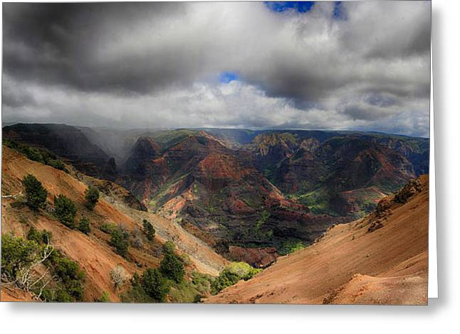 Waimea Valley Greeting Cards - Waimea Canyon Lookout Panorama Greeting Card by Douglas Barnard