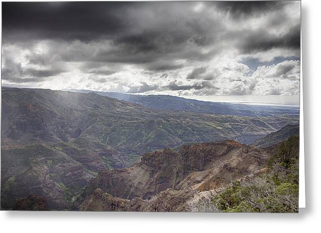 Waimea Valley Greeting Cards - Waimea Canyon Lookout V4 Greeting Card by Douglas Barnard