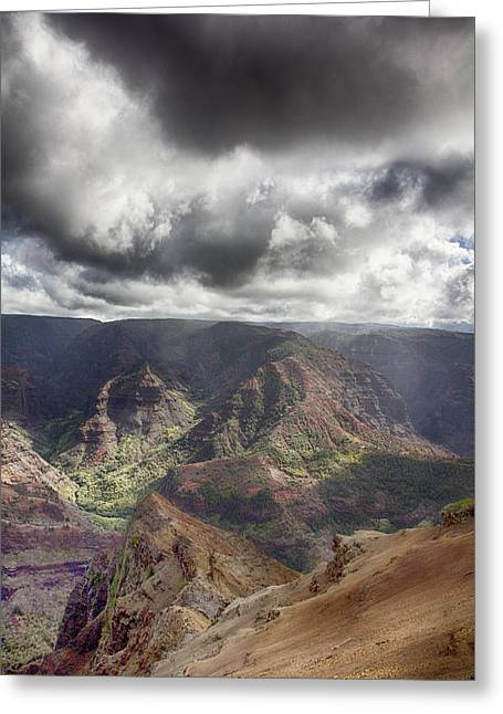Waimea Valley Greeting Cards - Waimea Canyon Lookout V5 Greeting Card by Douglas Barnard