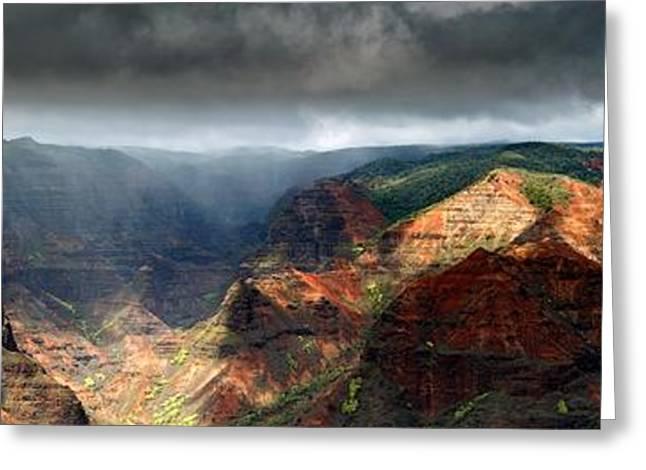 Waimea Greeting Cards - Waimea Canyon Panoramic Greeting Card by Ed Boudreau