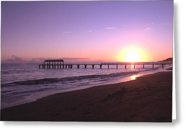 Amazing Sunset Greeting Cards - Waimea Pier Sunset Greeting Card by Brian Harig
