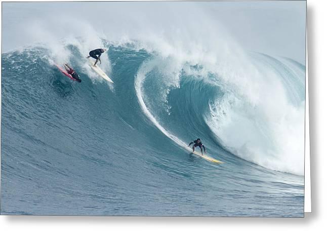 Waimea Surfers Greeting Card by Sean Davey