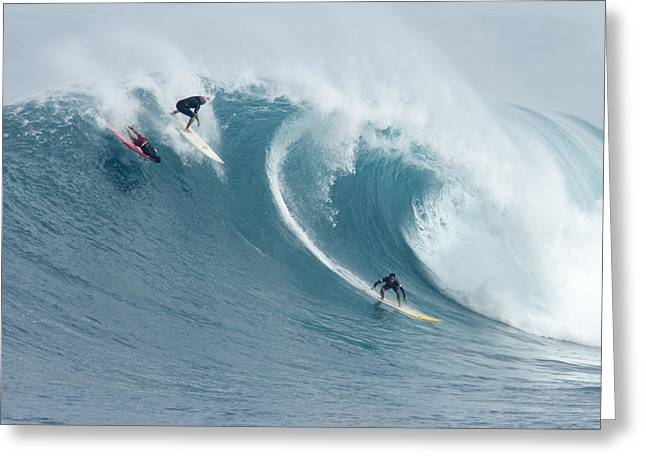 Big Waves Greeting Cards - Waimea Surfers Greeting Card by Sean Davey