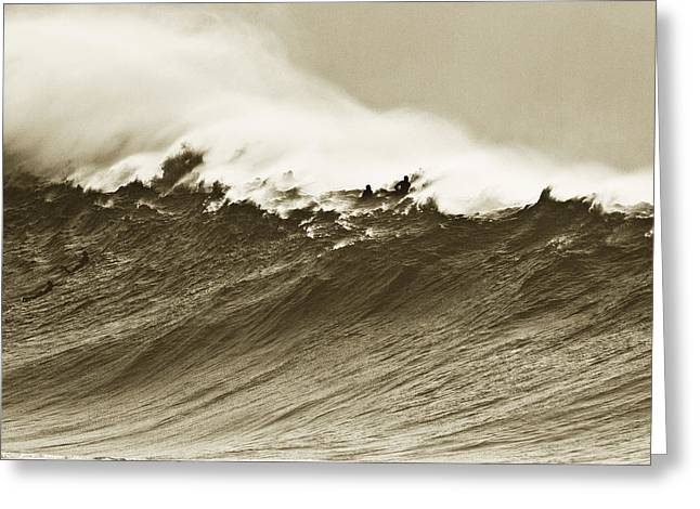Surf Silhouette Greeting Cards - Waimea Wall Greeting Card by Sean Davey