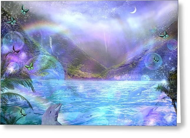 Fantasy Animal Greeting Cards - Waimia Dolphin Greeting Card by Alixandra Mullins