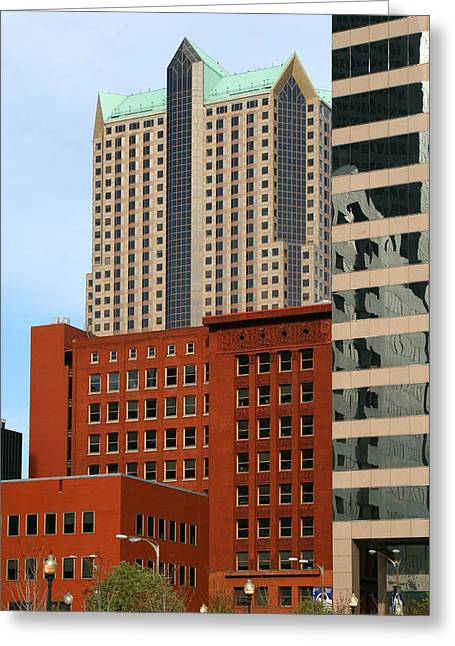 Wainwright Greeting Cards - Wainwright and Met Square Buildings St Louis MO Greeting Card by Greg Kluempers