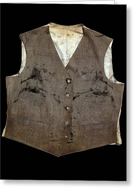 White Cloth Greeting Cards - Waistcoat from the Titanic Greeting Card by Science Photo Library