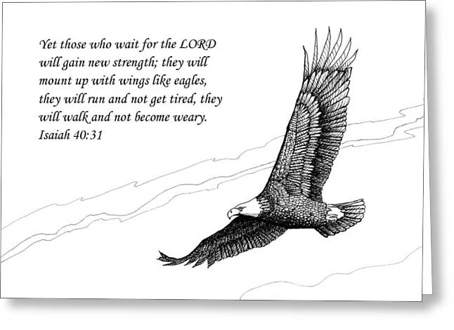 Fly Like An Eagle Greeting Cards - Wait for the Lord Greeting Card by Janet King