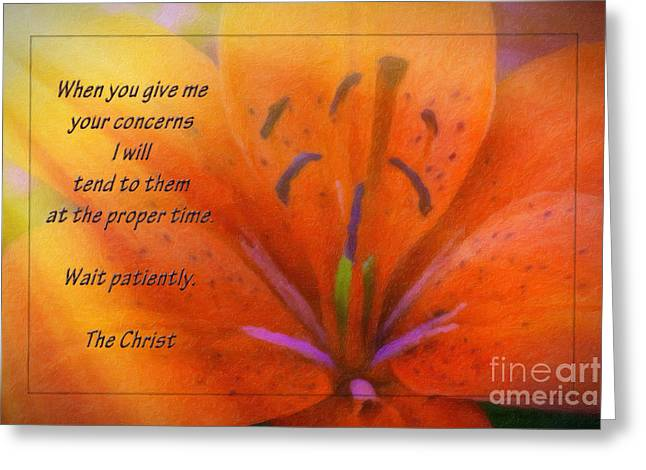 First Love Greeting Cards - Wait Patiently Greeting Card by Jean OKeeffe Macro Abundance Art