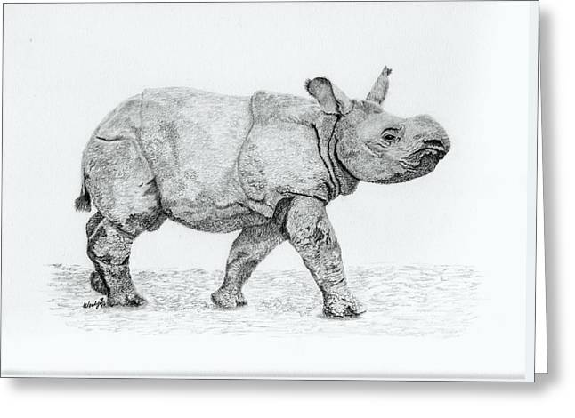 One Horned Rhino Greeting Cards - Wait up Mom Greeting Card by Wendy Brunell