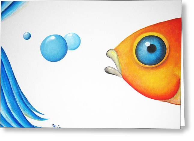 Recently Sold -  - Betta Greeting Cards - Wait Up  Greeting Card by Oiyee  At Oystudio