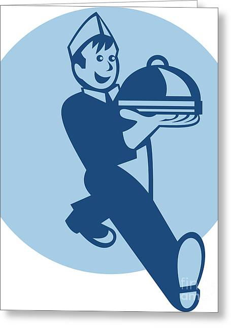 Waiter Cook Chef Baker Serving Food Greeting Card by Aloysius Patrimonio