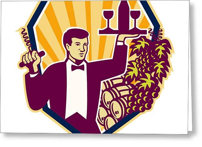 Waiter Serve Wine Glass Bottle Shield Retro Greeting Card by Aloysius Patrimonio