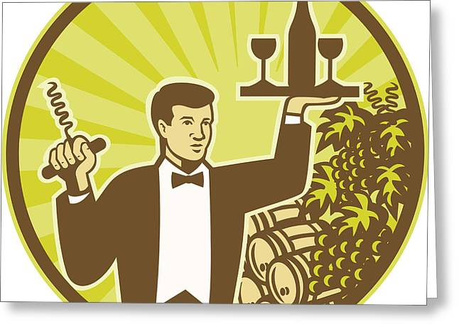 Waiter Serving Wine Grapes Barrel Retro Greeting Card by Aloysius Patrimonio