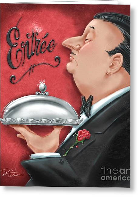 Dine Mixed Media Greeting Cards - Waiter with Entree  Greeting Card by Shari Warren