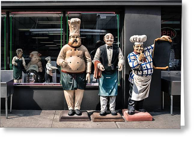 Caterer Greeting Cards - Waiters and Chefs - Food Service Industry Statues Greeting Card by Gary Heller