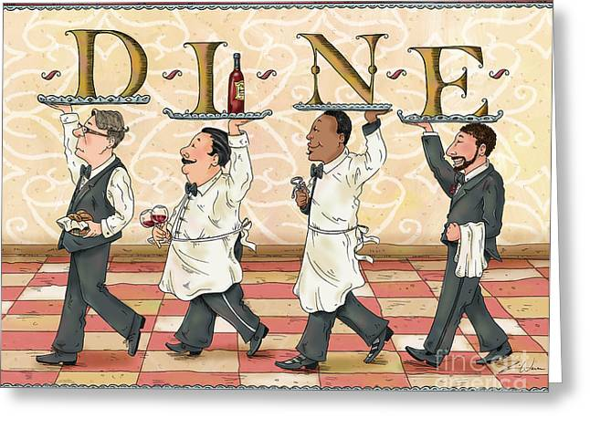 Dine Mixed Media Greeting Cards - Waiters DINE Greeting Card by Shari Warren
