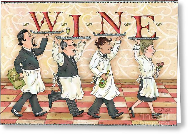 Cook Mixed Media Greeting Cards - Waiters WINE Greeting Card by Shari Warren